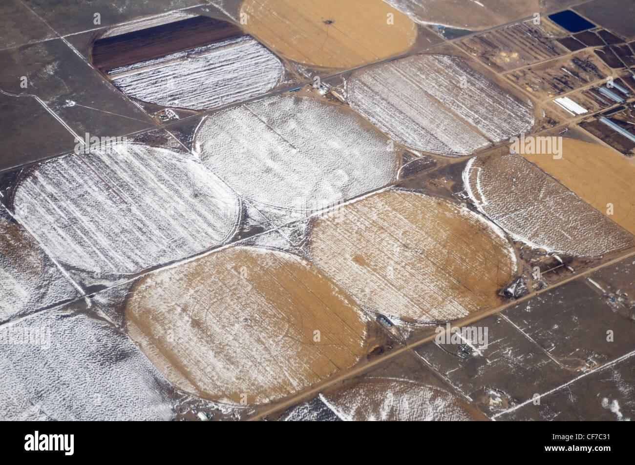 Tierras agrícolas desde 30.000 pies en invierno, Kansas, Estados Unidos Foto de stock