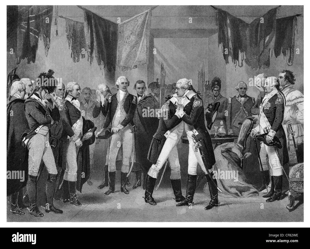 El General George Washington diciendo adiós a los funcionarios después de la Revolución Fraunces Imagen De Stock