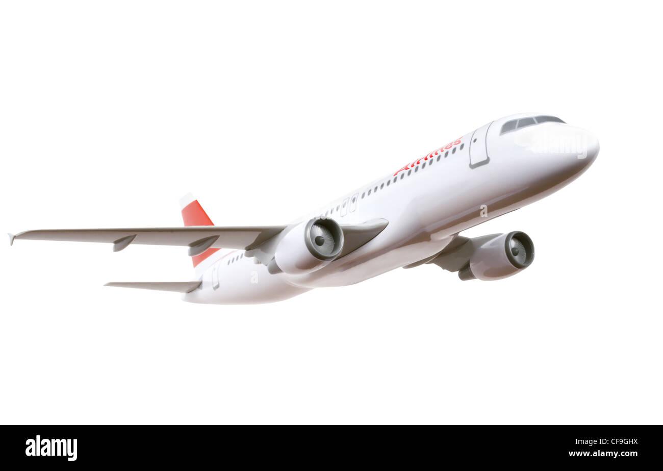 Modelo de avión comercial aislado sobre fondo blanco. Imagen De Stock