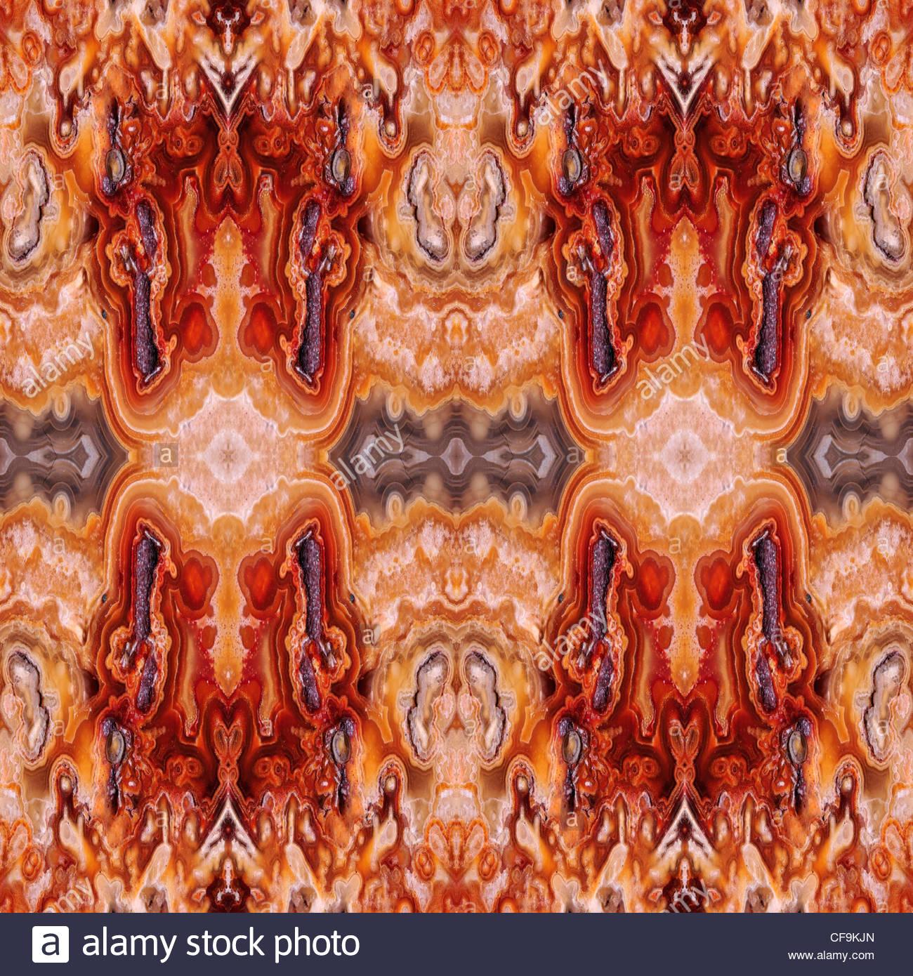 Slice pulida de Jasper (opaco, fina forma de calcedonia) Patrón hecho de copias repetidas de la imagen Imagen De Stock