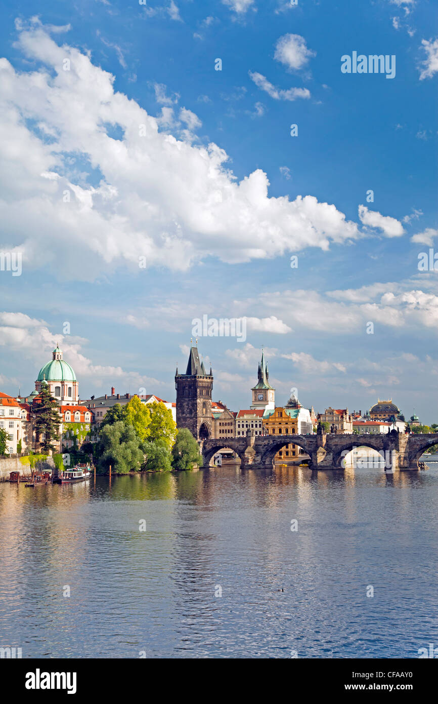 Vista del río Vltava, Praga, República Checa Imagen De Stock