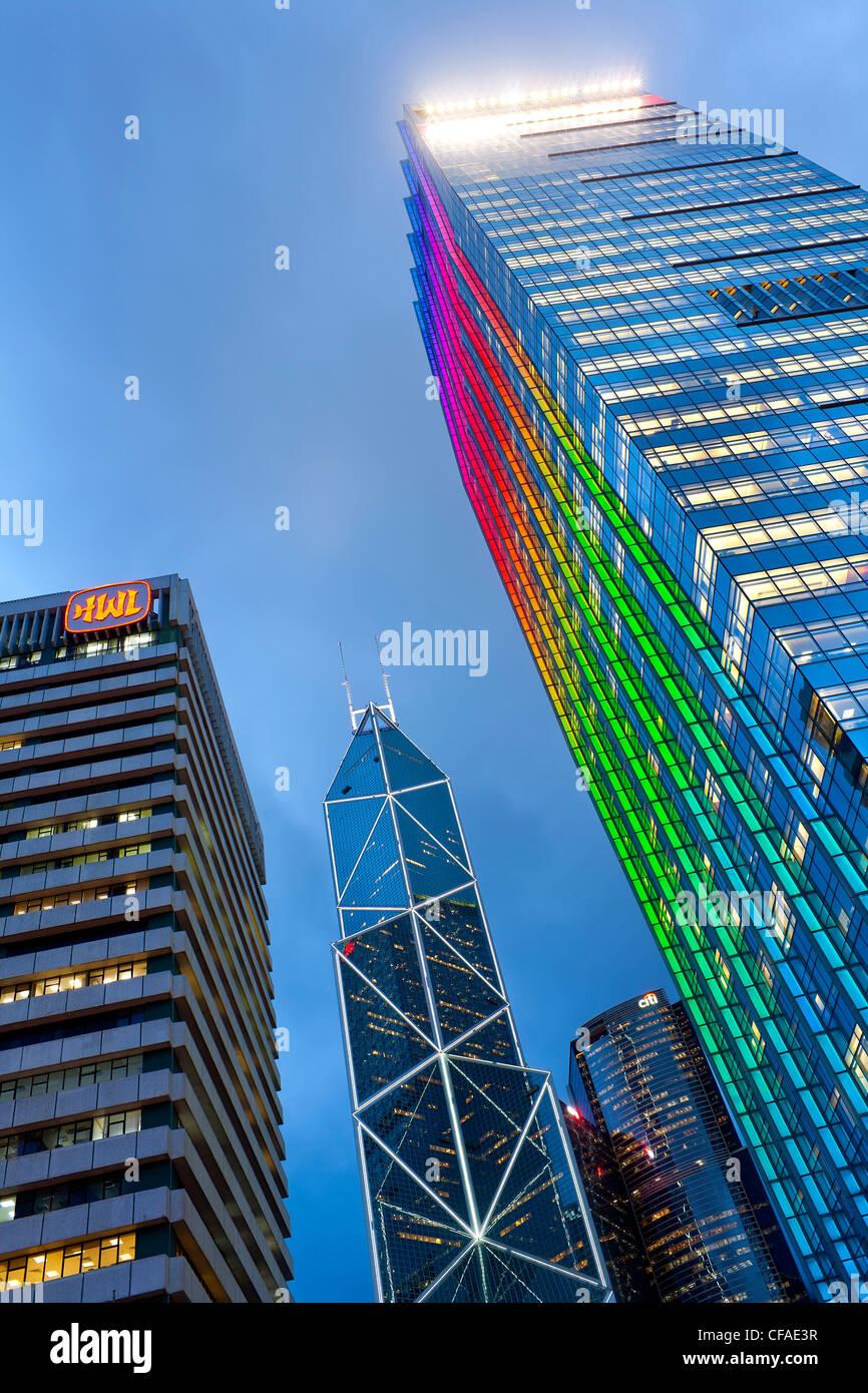 Perfil de Hong Kong al atardecer, el Centro de negocios y el distrito financiero, el Banco de Construcción Imagen De Stock