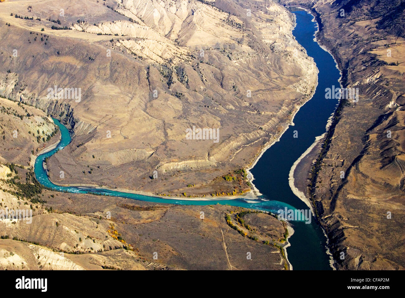 Antena de la confluencia de los ríos Fraser & Chilcotin en British Columbia, Canadá Imagen De Stock