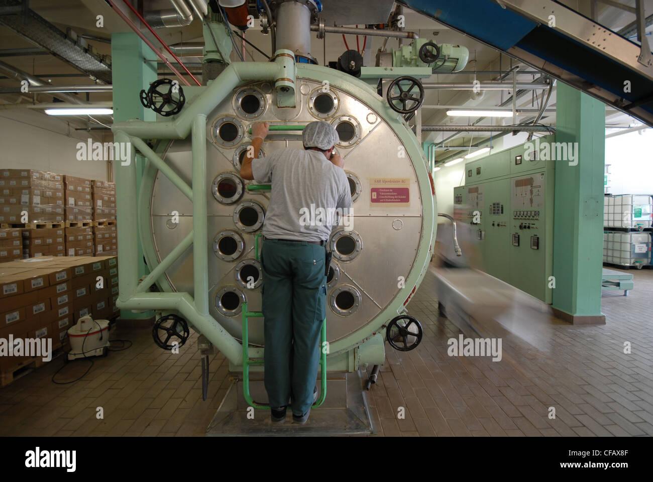 Alpine, máquina seca, hierbas, tops, biología, Weissenburg, hierbas de montaña, procesamiento, reparadoras, Imagen De Stock