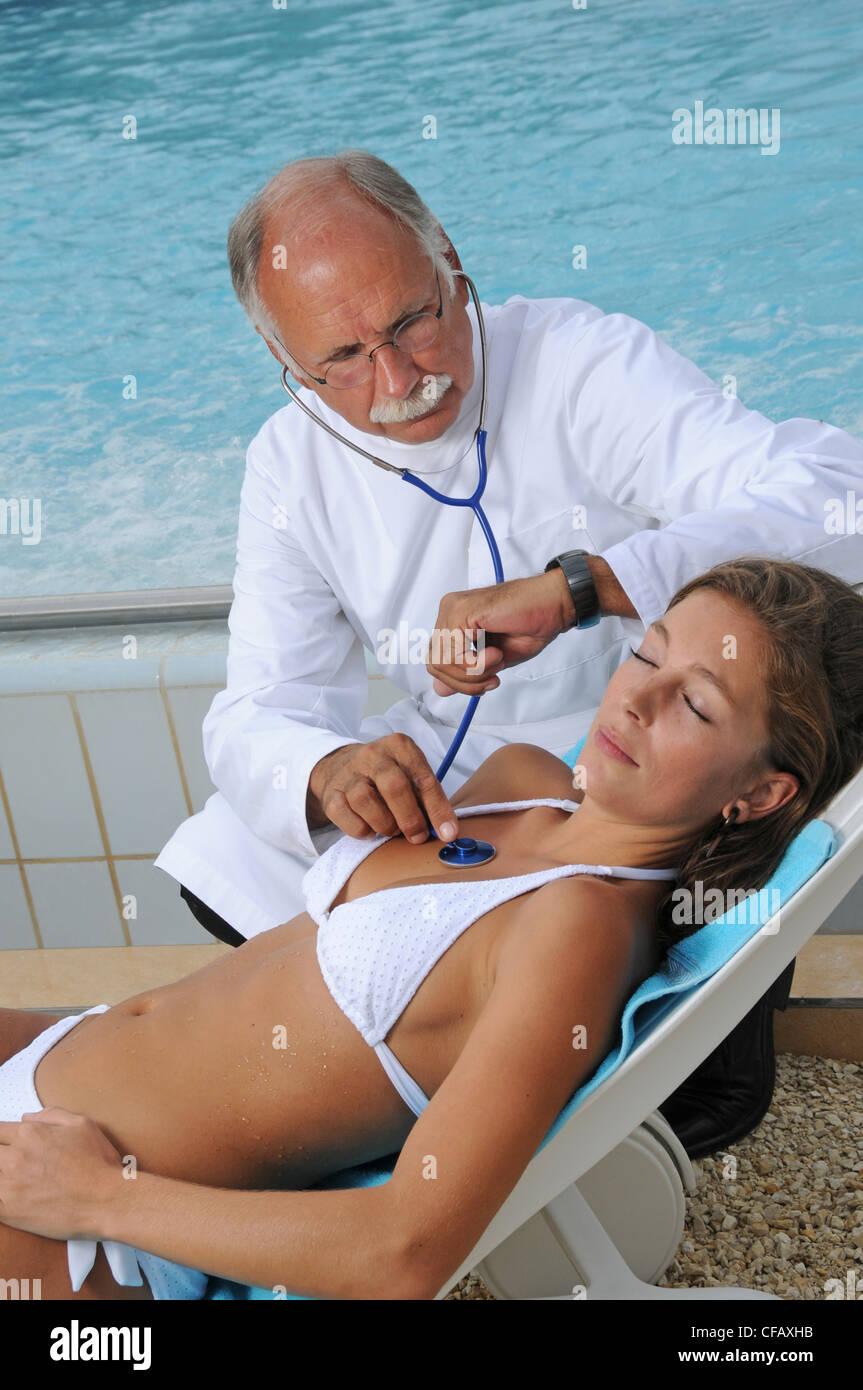 Wellness, bañera, médico, tratamiento, transformación, salud, belleza, investigación, mujer, Imagen De Stock
