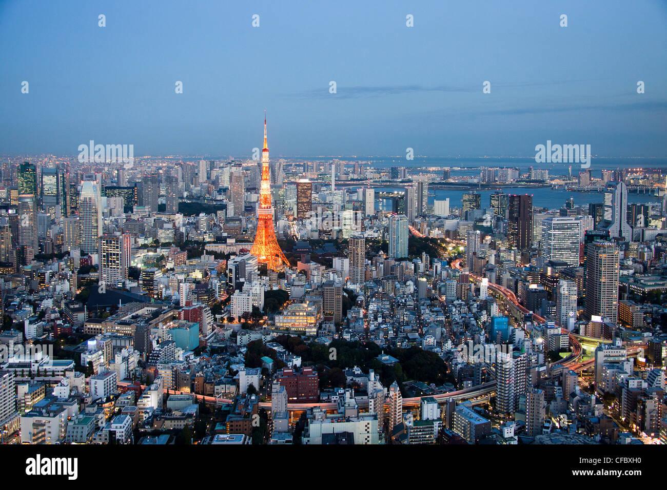 Japón, Asia, Tokio, la ciudad, el horizonte de Tokio, La Torre de Tokio, arquitectura, grandes, edificios de Imagen De Stock