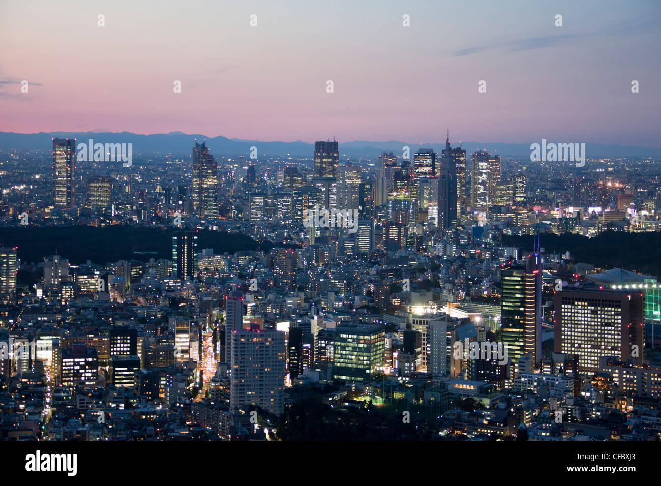 Japón, Asia, Tokio, ciudad, puesta de sol, arquitectura, grandes, edificios de la ciudad, el centro, enormes, Imagen De Stock