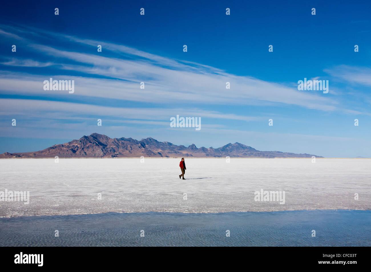 Estados Unidos, Utah, Bonneville, Salinas grandes, curioso, postre, seca, plana, viajes, enorme, el hombre, la naturaleza, Imagen De Stock