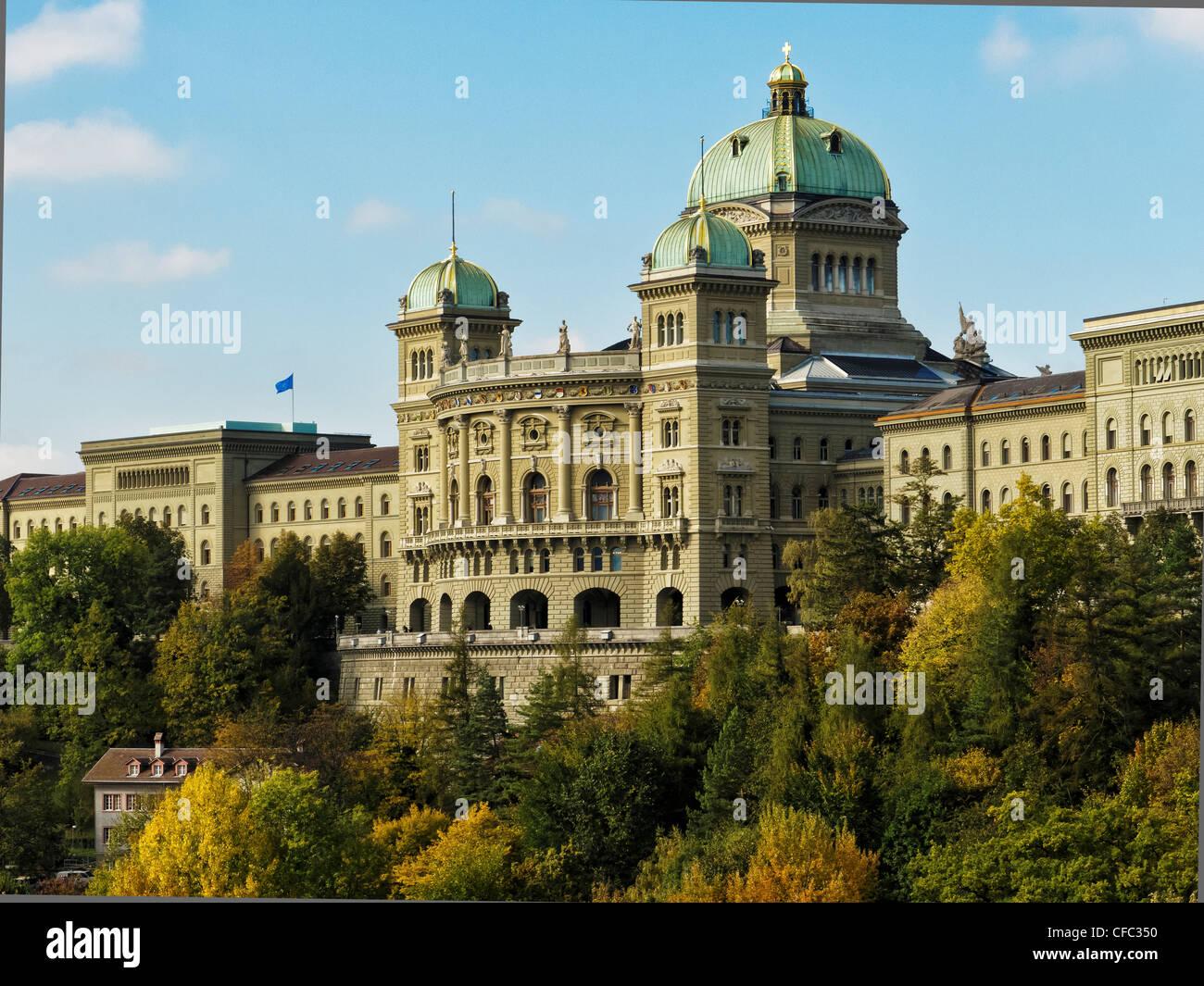 Berna, el edificio del parlamento federal, capital política, cantón de Berna, Suiza, el gobierno de la Imagen De Stock