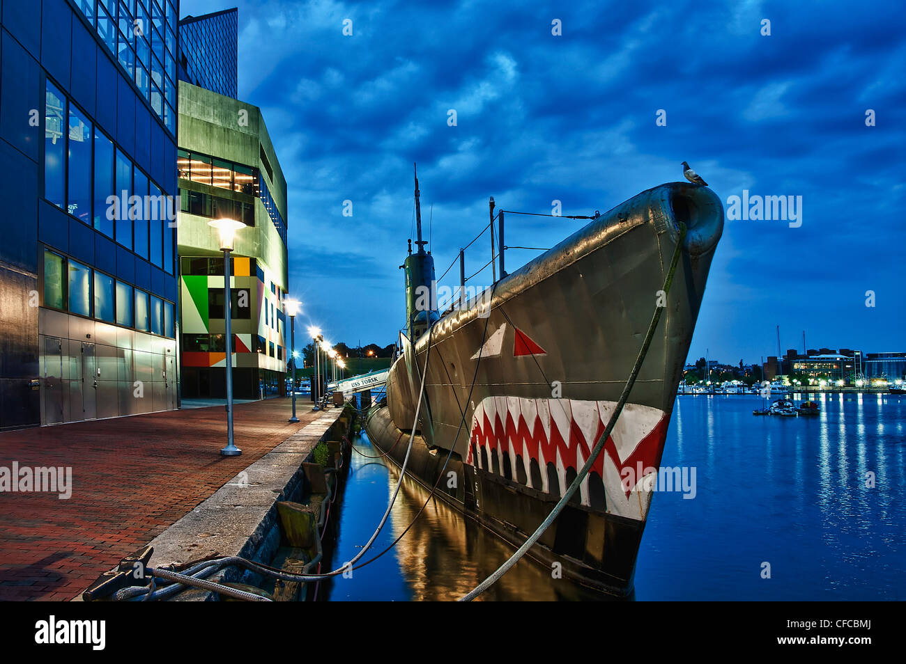Submarino USS Torsk, Memorial, el Inner Harbor, Barltimore, Maryland, EE.UU Imagen De Stock