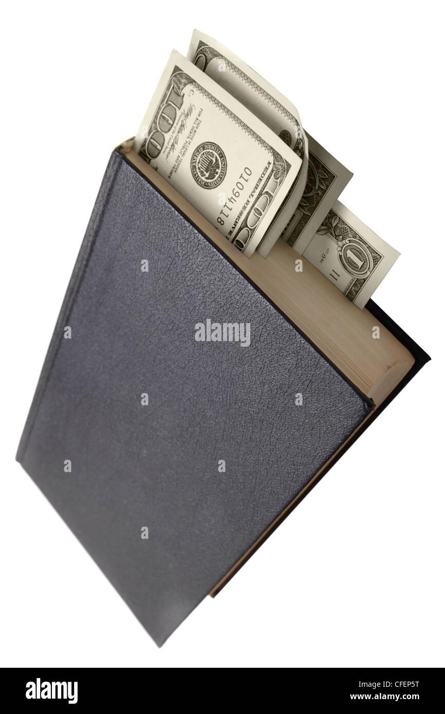 Reserve con dólares como marcadores aislados sobre el fondo blanco. Foto de stock