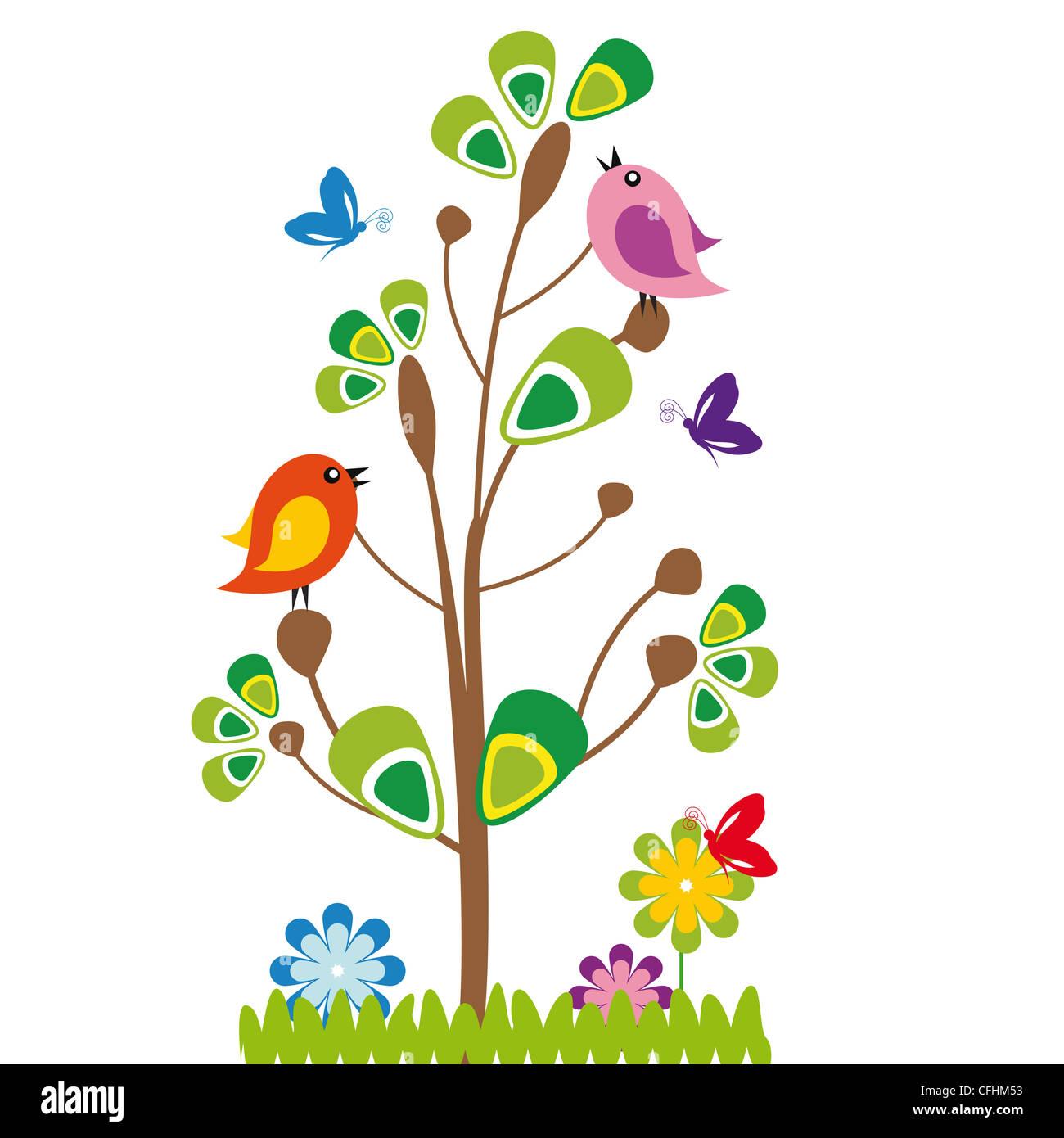 Cute Dibujos Animados Para Niños Con árboles Y Pájaros Foto Imagen