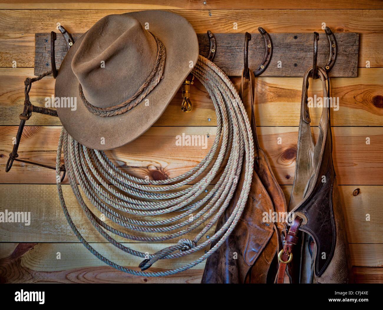 Garderobe en un rancho en el noroeste de Wyoming Foto de stock