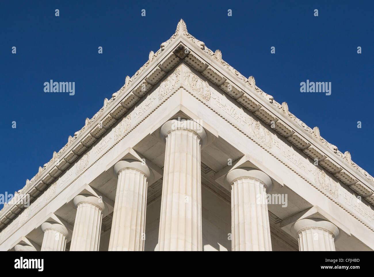 Detalle de la esquina del Lincoln Memorial, Washington DC, EE.UU. Imagen De Stock