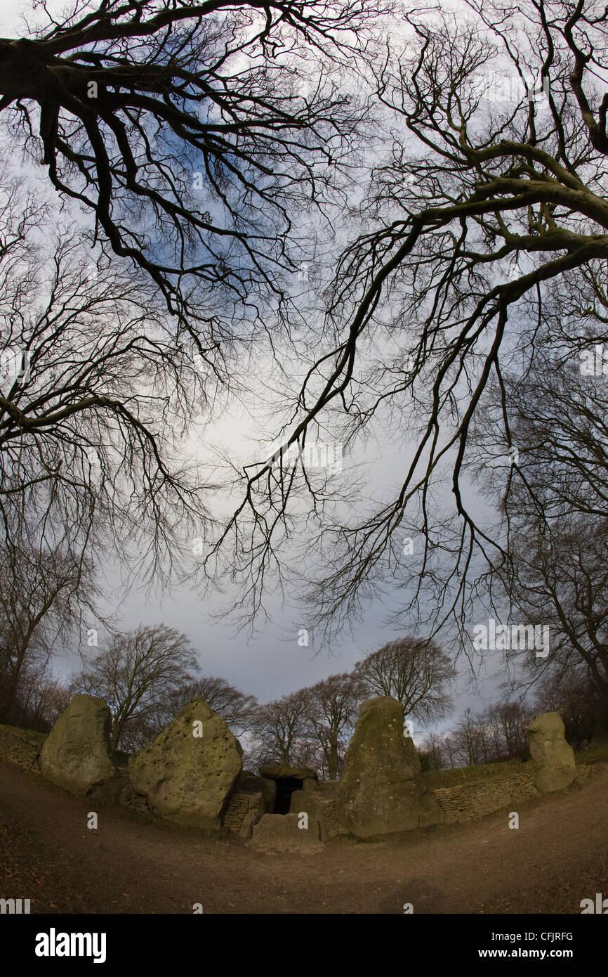 Wayland's herrería, Neolitico antiguo septadas Long Barrow en el Ridgeway Foto de stock