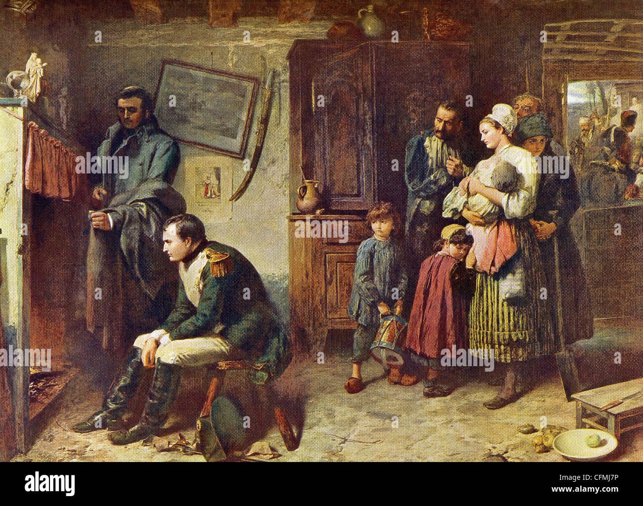Napoleón se muestra aquí en la casa de un campesino tras ser derrotados en la batalla de Waterloo. Imagen De Stock