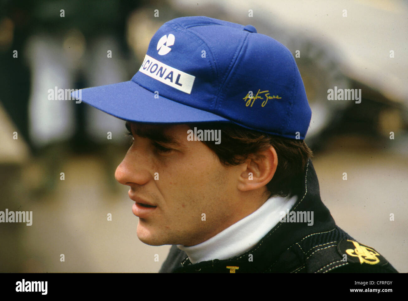 Ayrton Senna Lotus British Grand Prix de 1985 Imagen De Stock