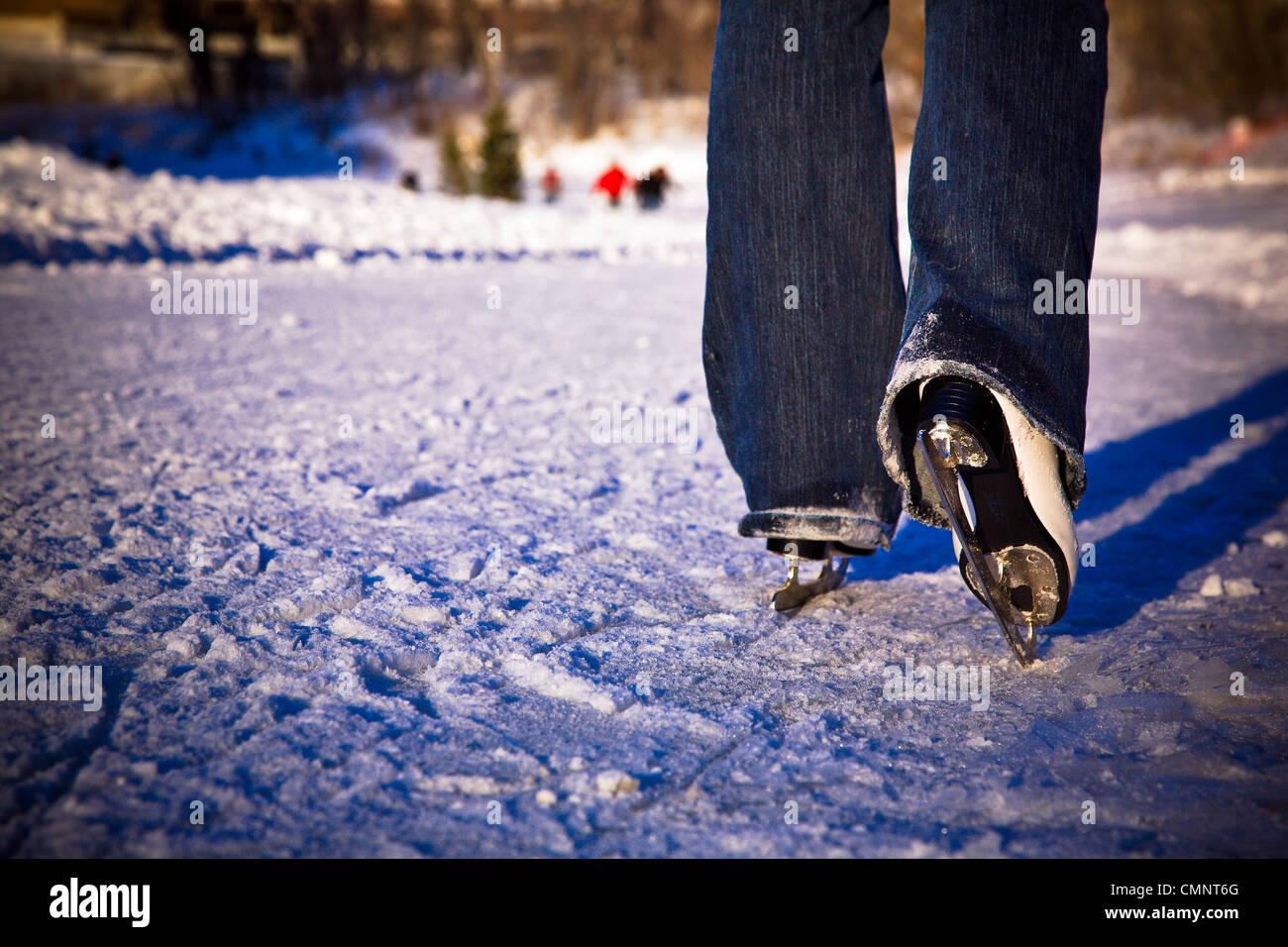 Cerca de patines para hielo en Assiniboine River Trail, el más largo del mundo, naturalmente, pista de patinaje de hielo congelado, las horquillas, Winnipeg, MB Foto de stock