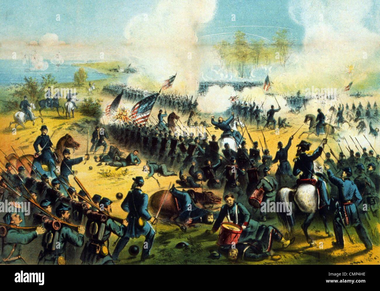 La batalla de Shiloh, también conocida como la Batalla de Pittsburg Landing, Batalla en el teatro occidental de Foto de stock