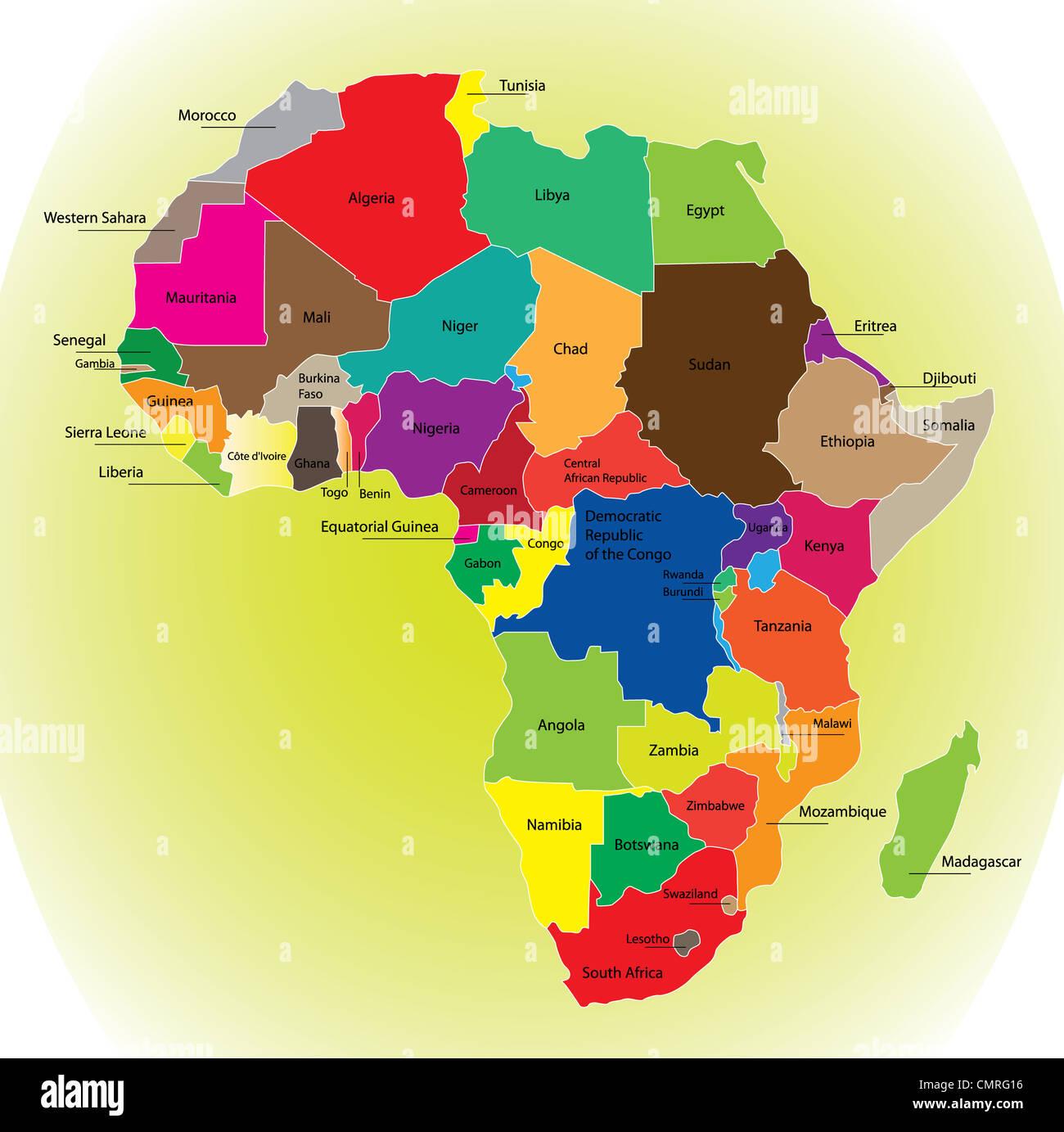 Detalle Del Mapa De Color Del Continente Africano Con Fronteras Cada Estado Es De Color A Los Distintos Colores Y Ha Escrito El Nombre Fotografía De Stock Alamy
