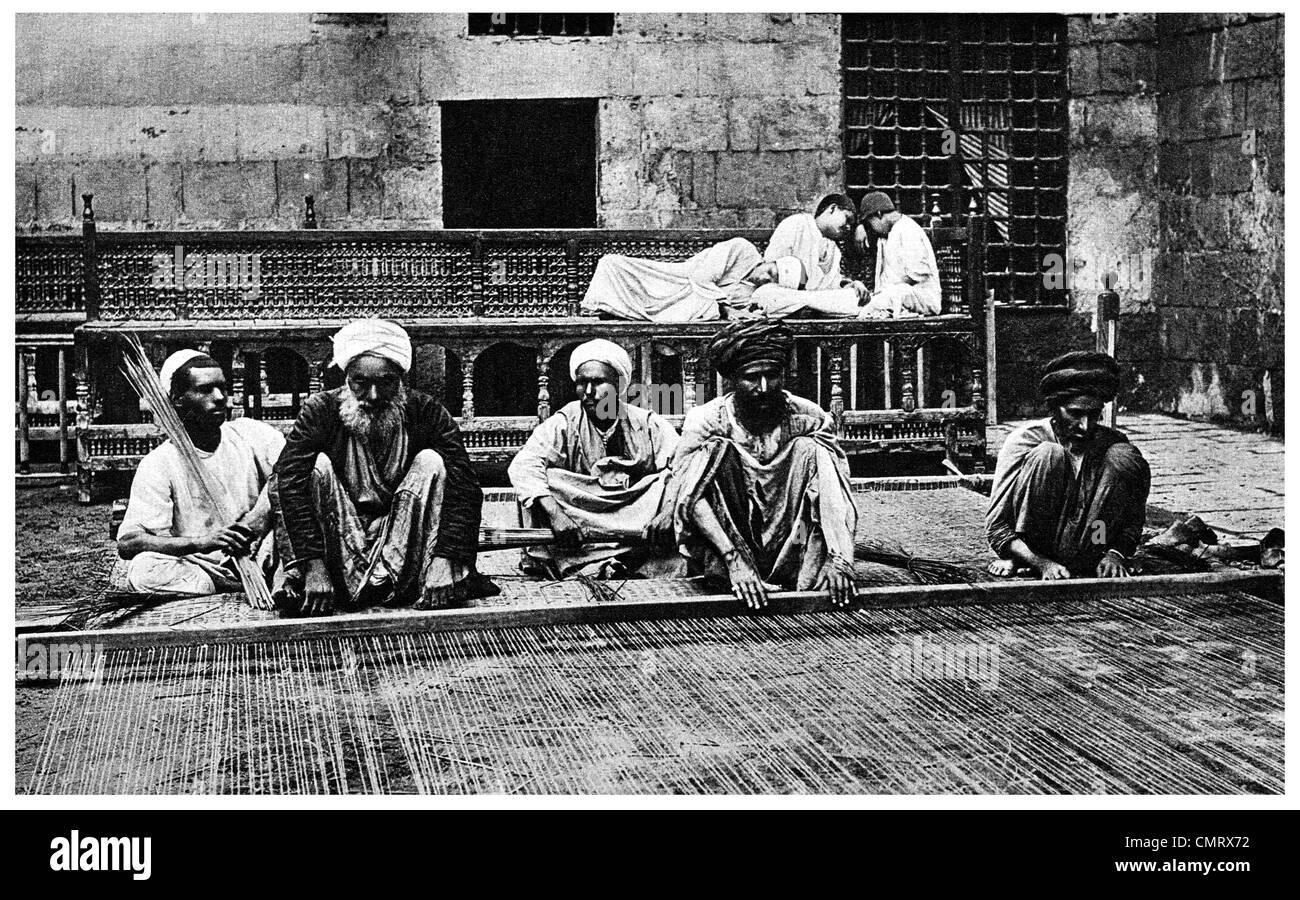 1919 Egipto Reed piso tejedores de fabricación Imagen De Stock