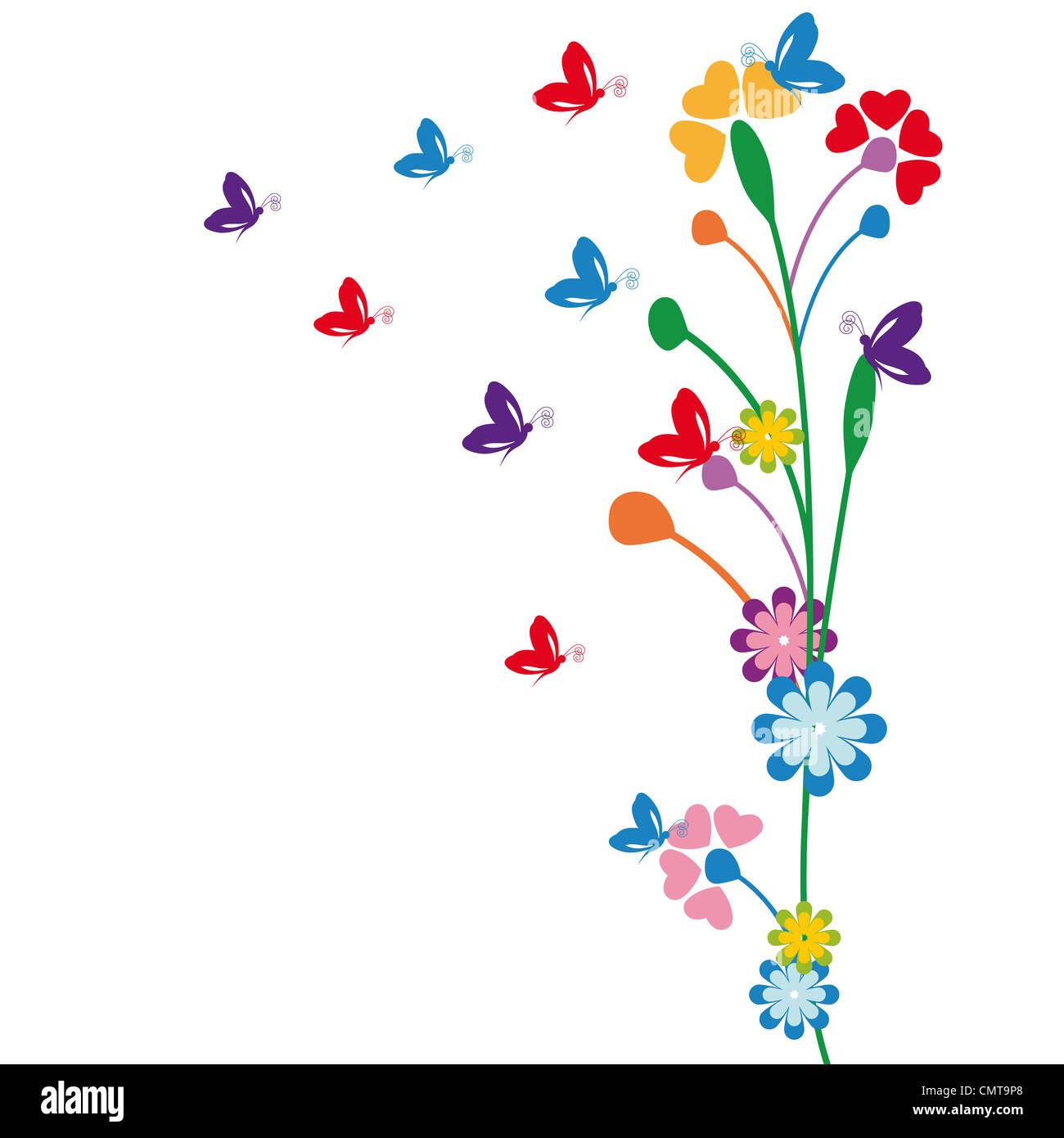 Cute Dibujos Animados Para Niños Con Flores Y Mariposas Foto