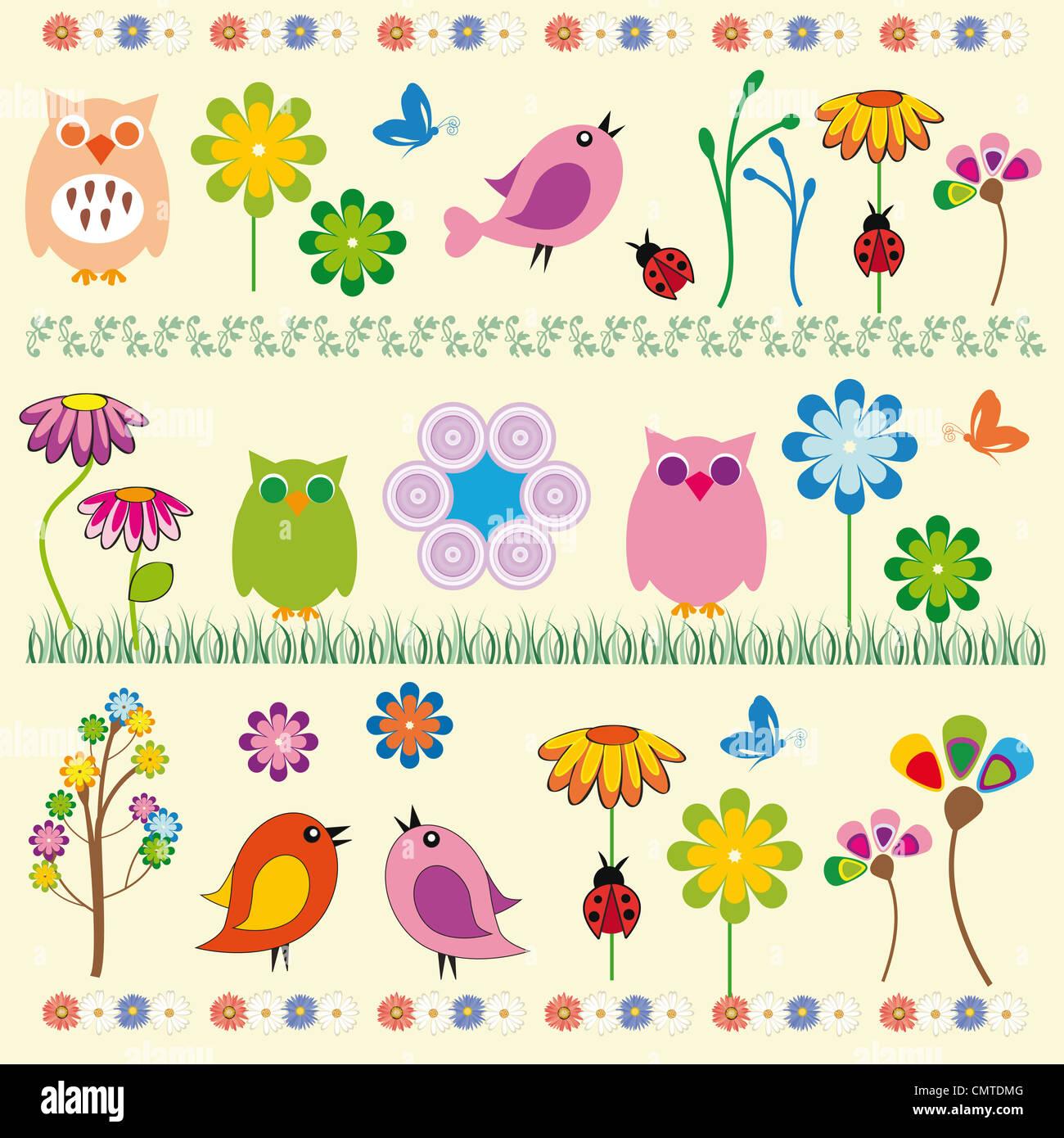 Cute kids fondo con flores y aves Imagen De Stock