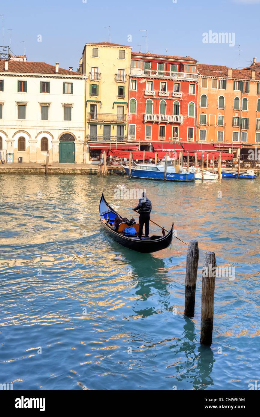 Grand Canal, góndola, Venecia, Véneto, Italia Imagen De Stock
