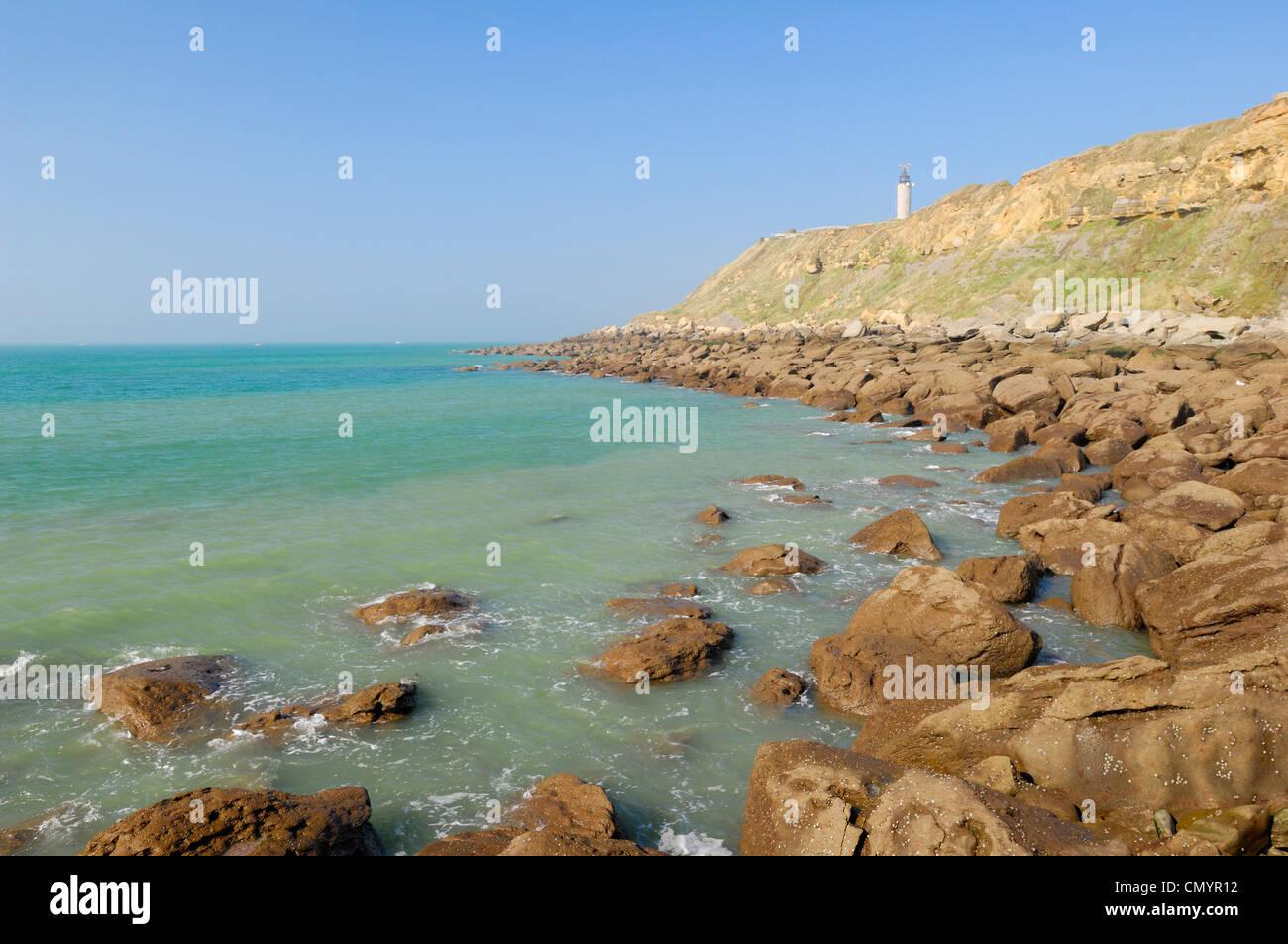 Francia, Pas de Calais, Audinghen, Cap Gris nez, Cliff Imagen De Stock