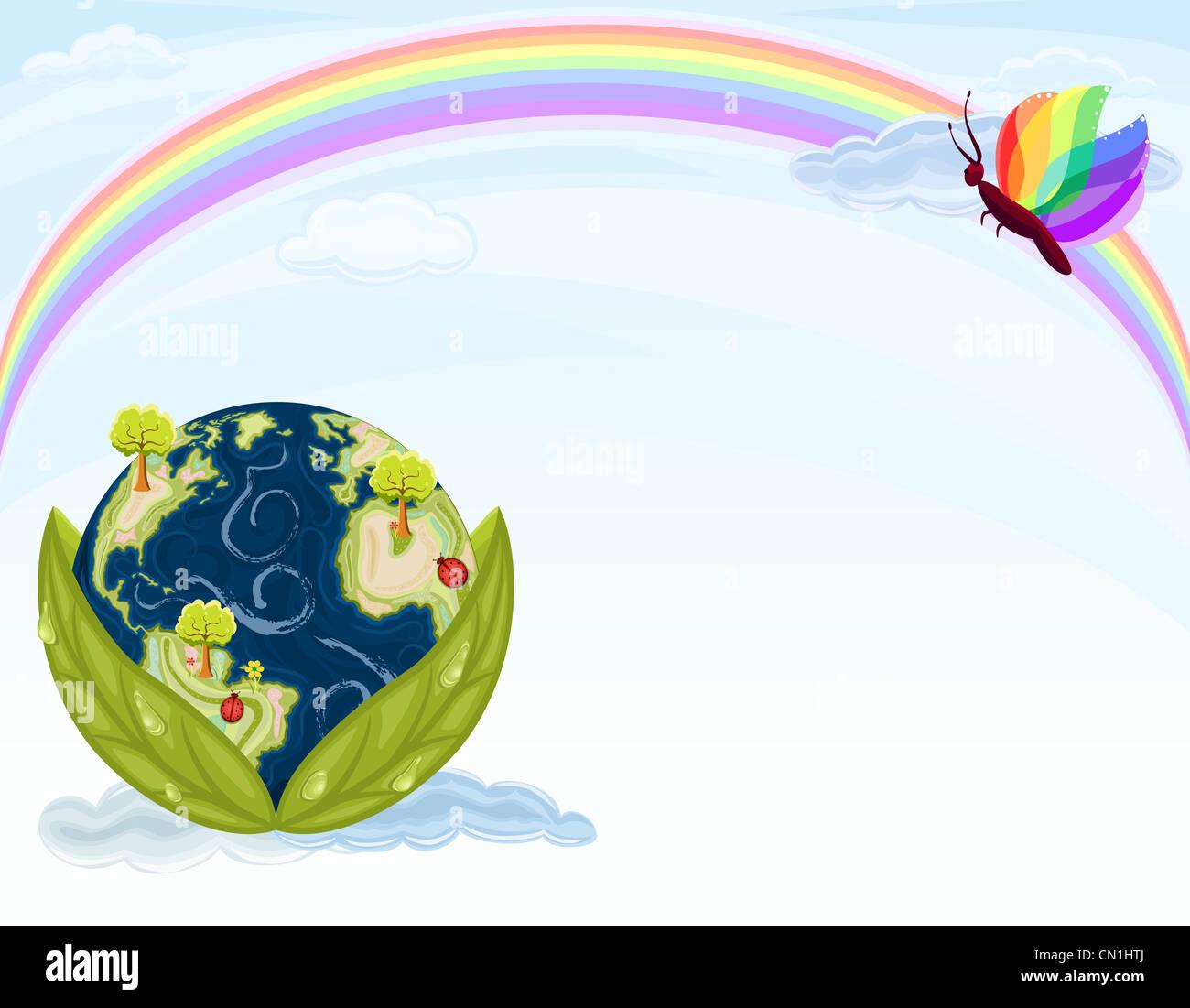 Tierra verde - conservar nuestra hermosa naturaleza. Planeta Tierra dentro de hojas verdes con el cielo azul y el Imagen De Stock