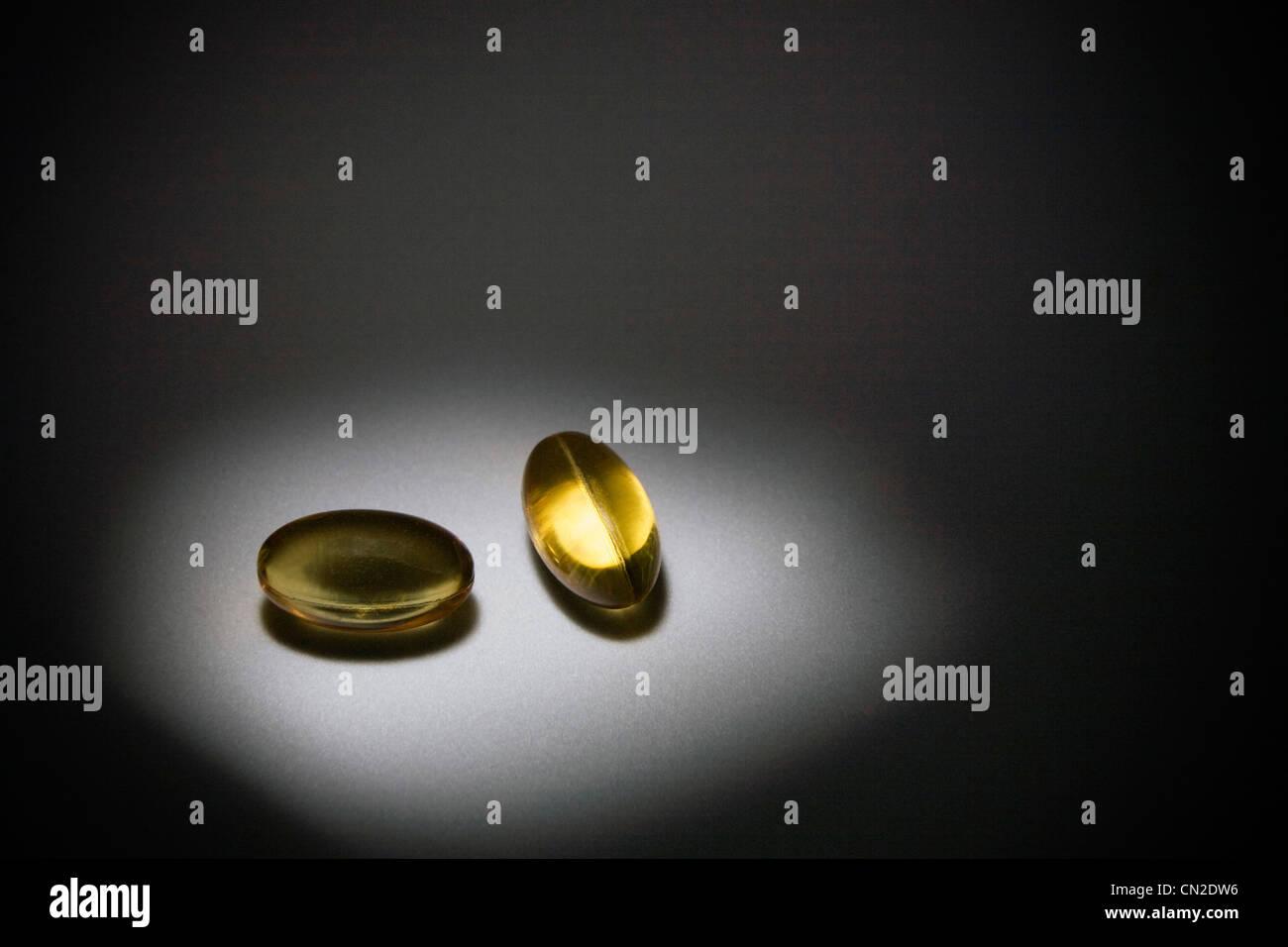 Cápsulas de vitamina E Imagen De Stock