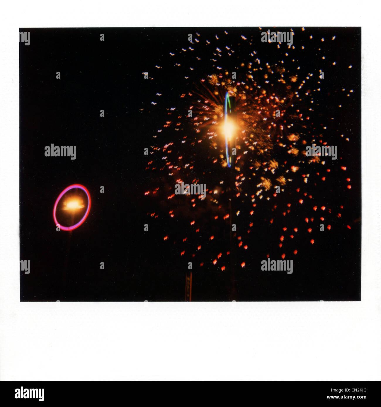 Película instantánea fotografía de fuegos artificiales Imagen De Stock