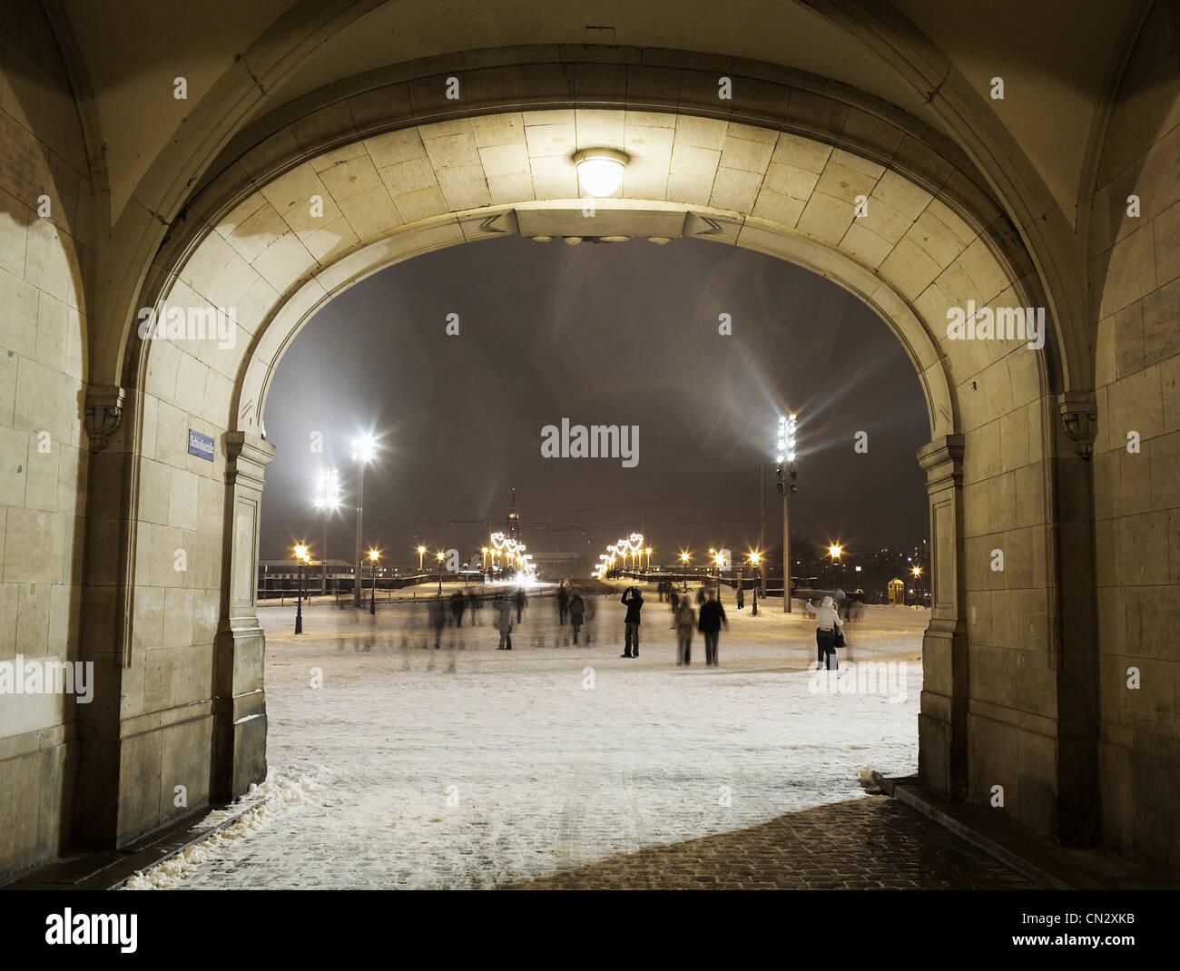 Puente de agosto, Dresden, Alemania Foto de stock