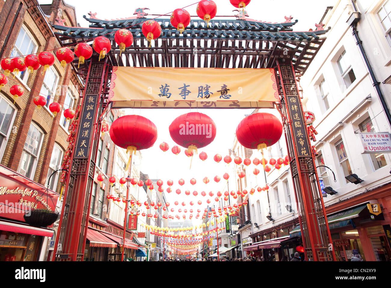 El Año Nuevo Chino, China Town, Londres Foto de stock