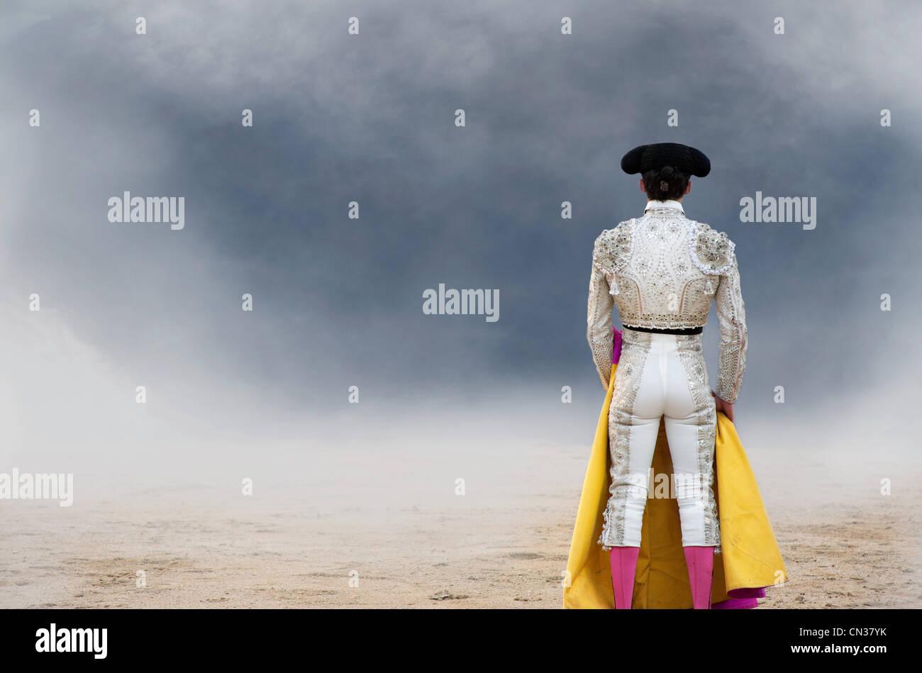 Torero, vista trasera, la Plaza de Toros de Las Ventas, Madrid Foto de stock