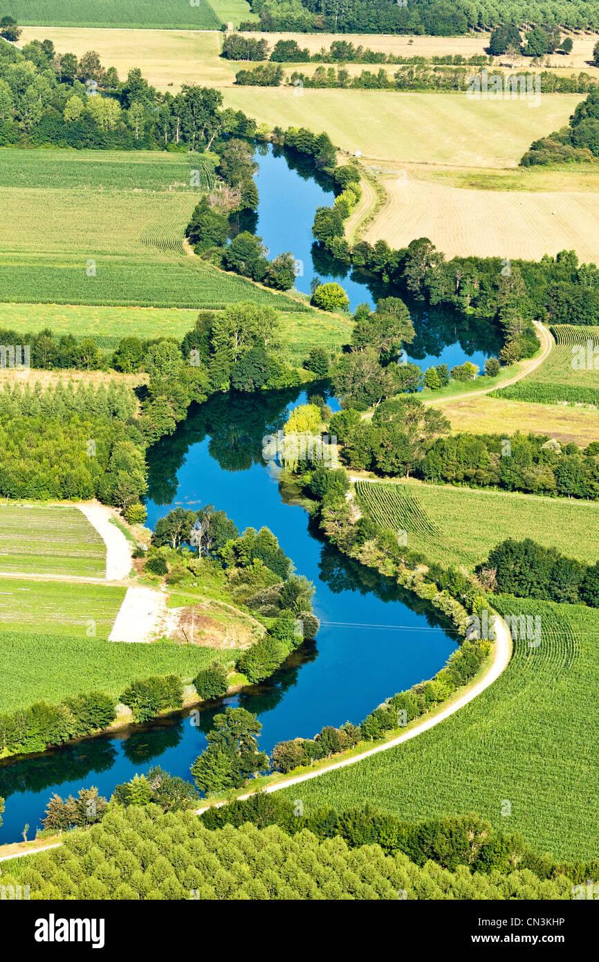Francia, Charente, Triac Lautrait La Charente Valley (vista aérea) Foto de stock