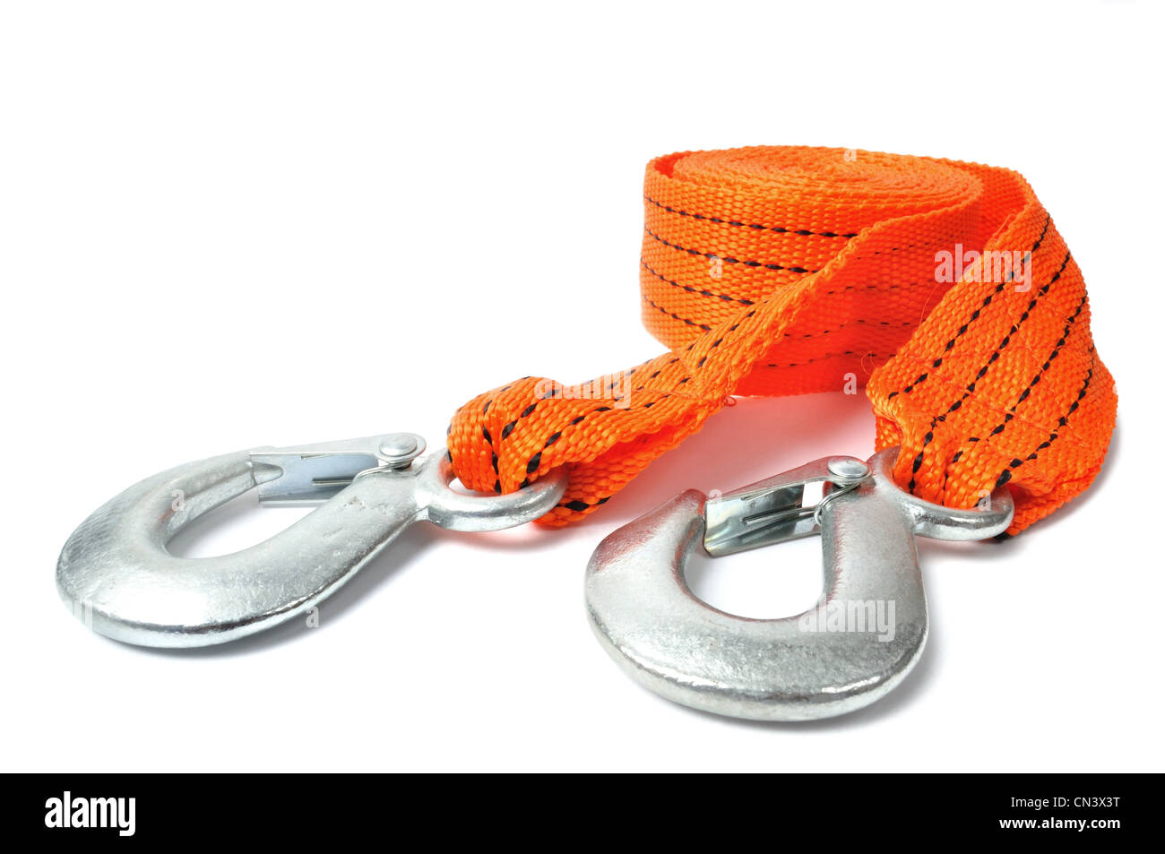 Macro de cuerda de remolque aislado sobre fondo blanco. Imagen De Stock