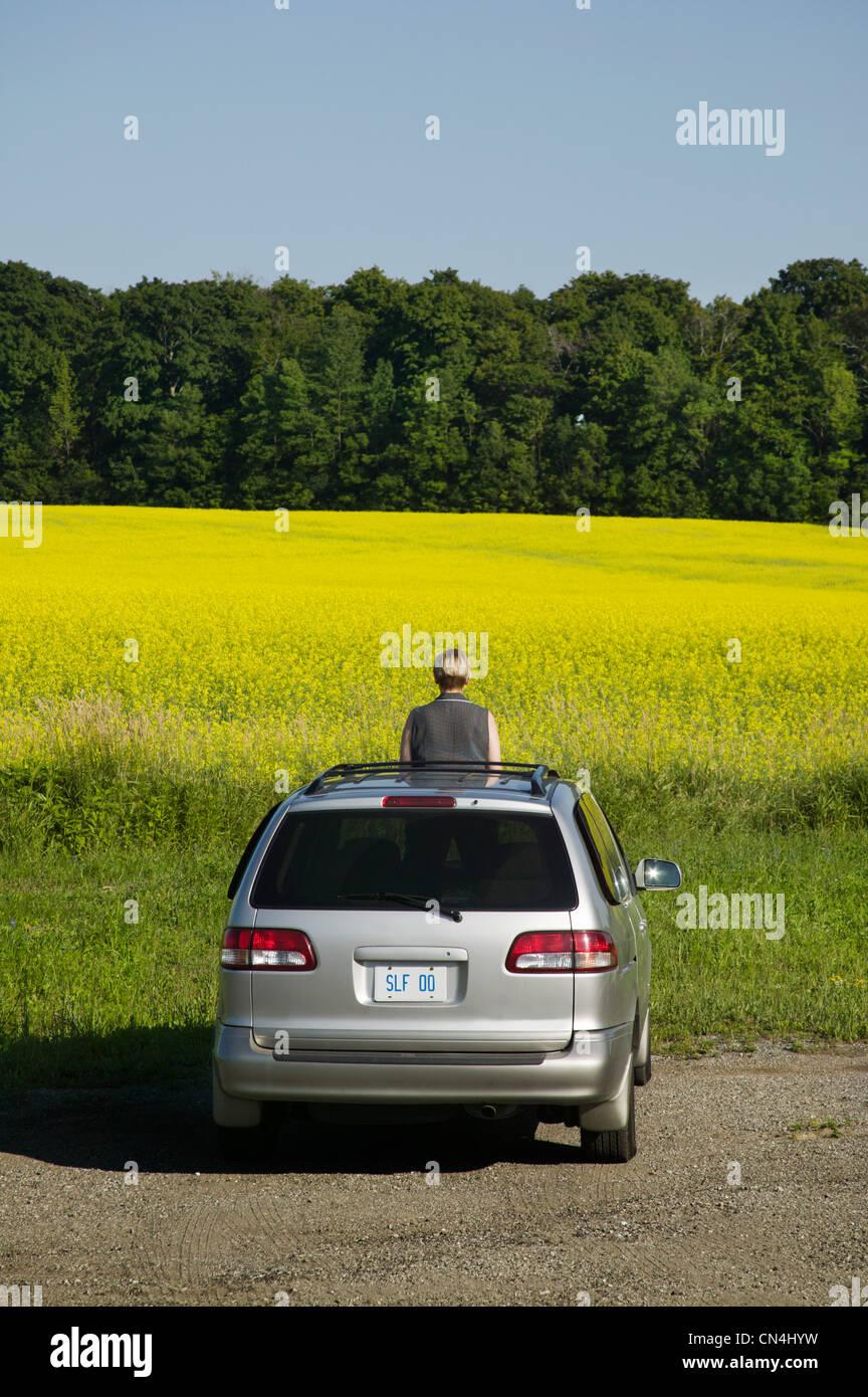 Mujer de pie a través del techo solar del coche por un campo Imagen De Stock