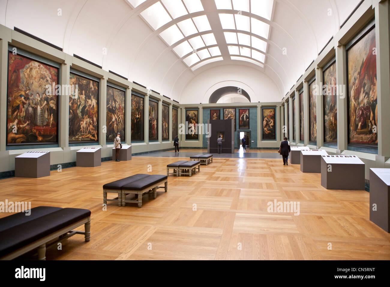 Francia, París, Musée du Louvre (museo del Louvre), habitación 18 sobre el pintor Rubens Foto de stock
