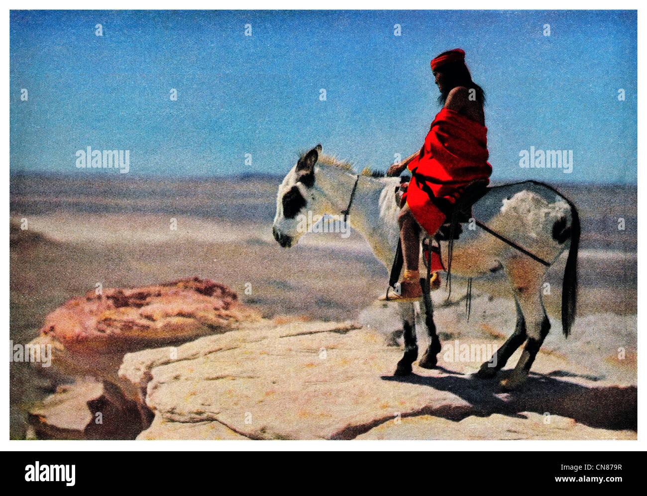 Publicado por primera vez en 1916 la tribu de indios Hopi jinete pálido aldea Walapai de Arizona Imagen De Stock