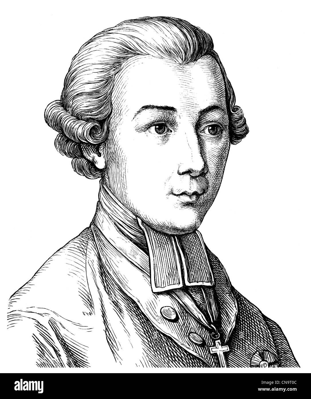 Dibujo histórico, Karl Theodor Anton Maria Barón von Dalberg, 1744 - 1817, arzobispo y estadista, filósofo y escritor Foto de stock