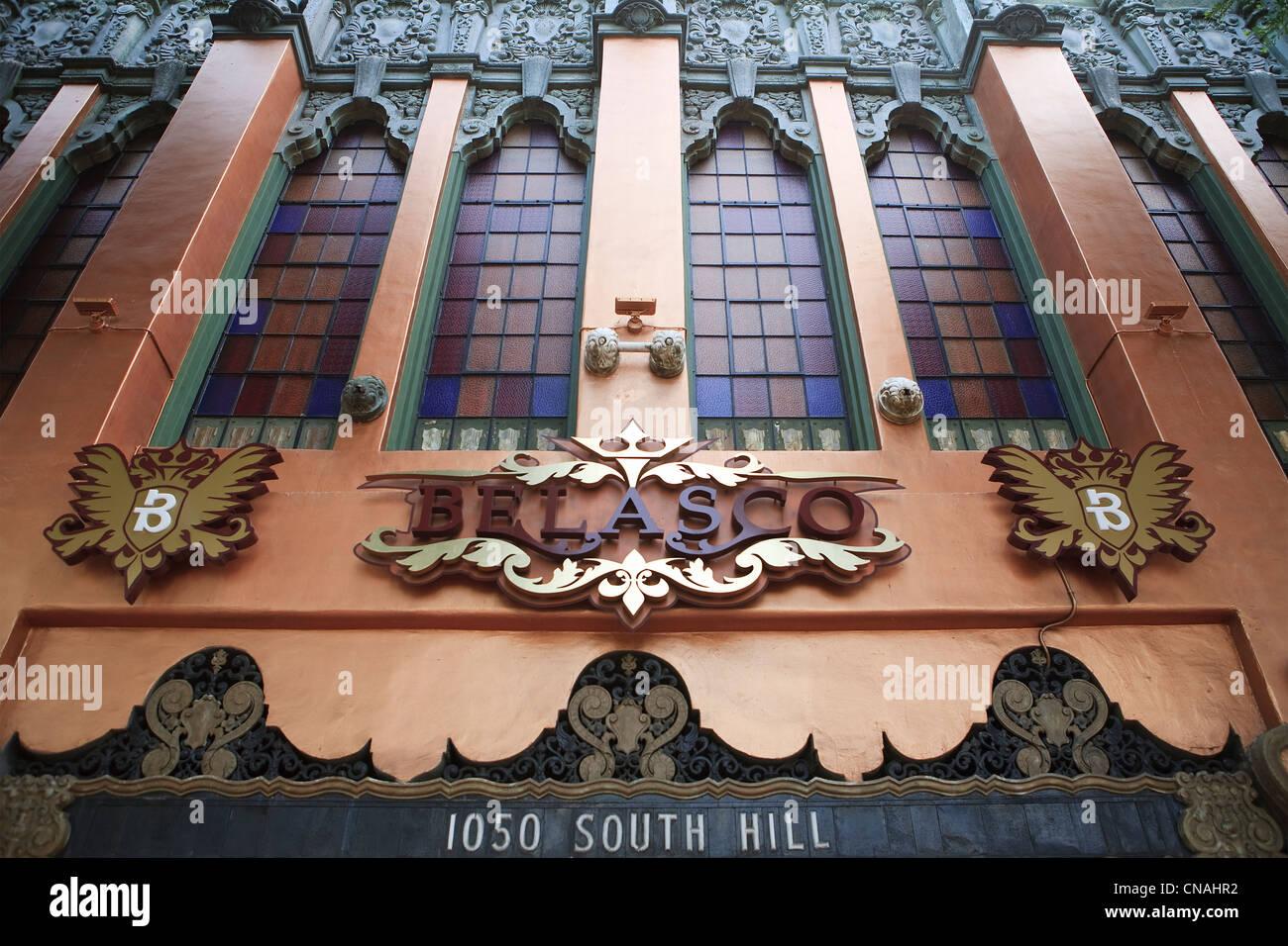 Estados Unidos, California, Los Angeles, en el centro de la ciudad, la fachada del Teatro Belasco construido a comienzos Foto de stock