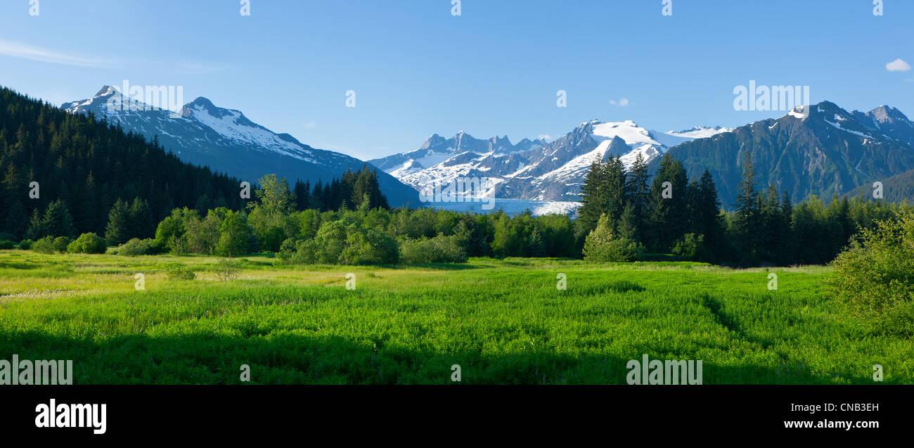 Vista panorámica de la Hermandad Meadow en el valle de Mendenhall, Mendenhall Glacier y torres más allá Imagen De Stock