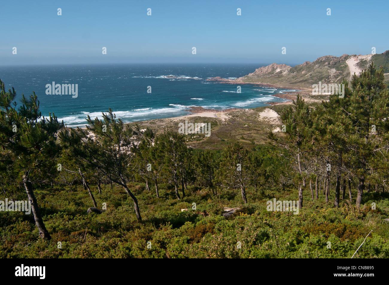 España, Galicia, costera, Veo muertos Cabo, Playa (Área) de trece Imagen De Stock