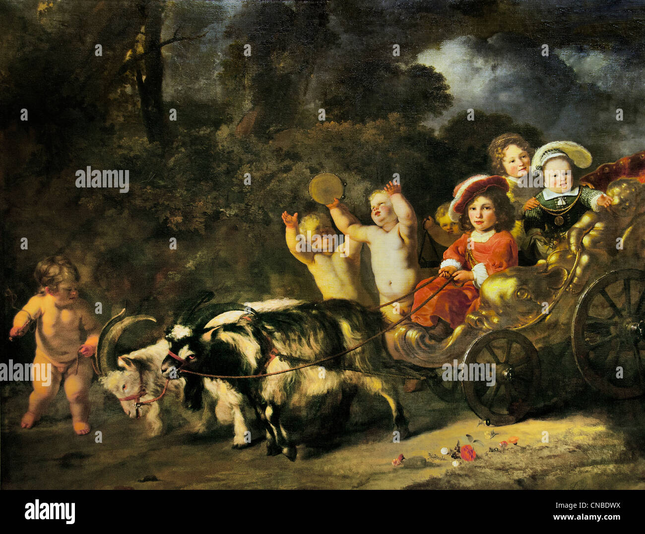 Los niños de la familia noble de viaje en un carro tirado por cabras 1654 Ferdinand BOL 1616 - 1680 Imagen De Stock