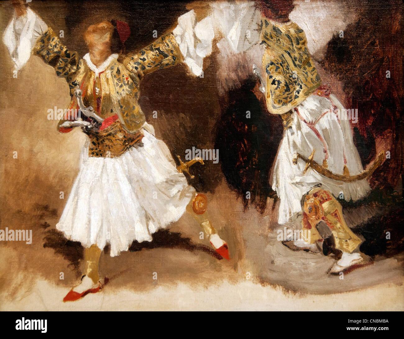 Dos guerreros griegos trajes de baile Estudio Souliotes 1824 por Ferdinand Victor Eugène Delacroix 1798 - 1863 Imagen De Stock