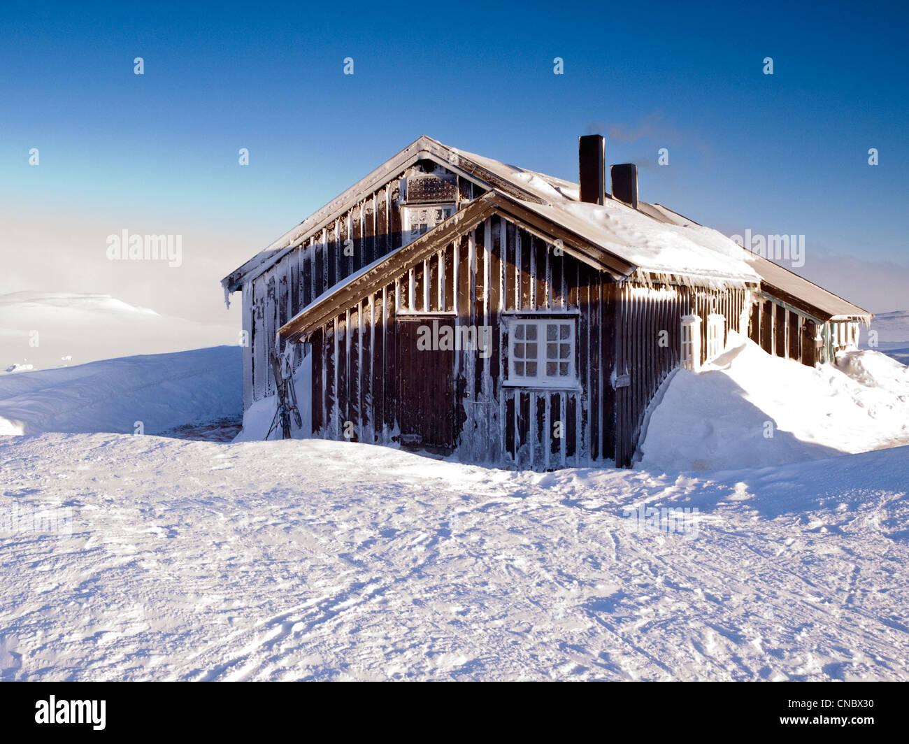Cabaña de montaña noruego operado por el DNT, la Asociación Noruega de trekking Imagen De Stock