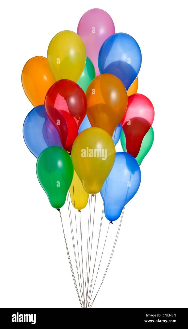 Un montón de coloridos globos de helio con trazado de recorte 2 Imagen De Stock