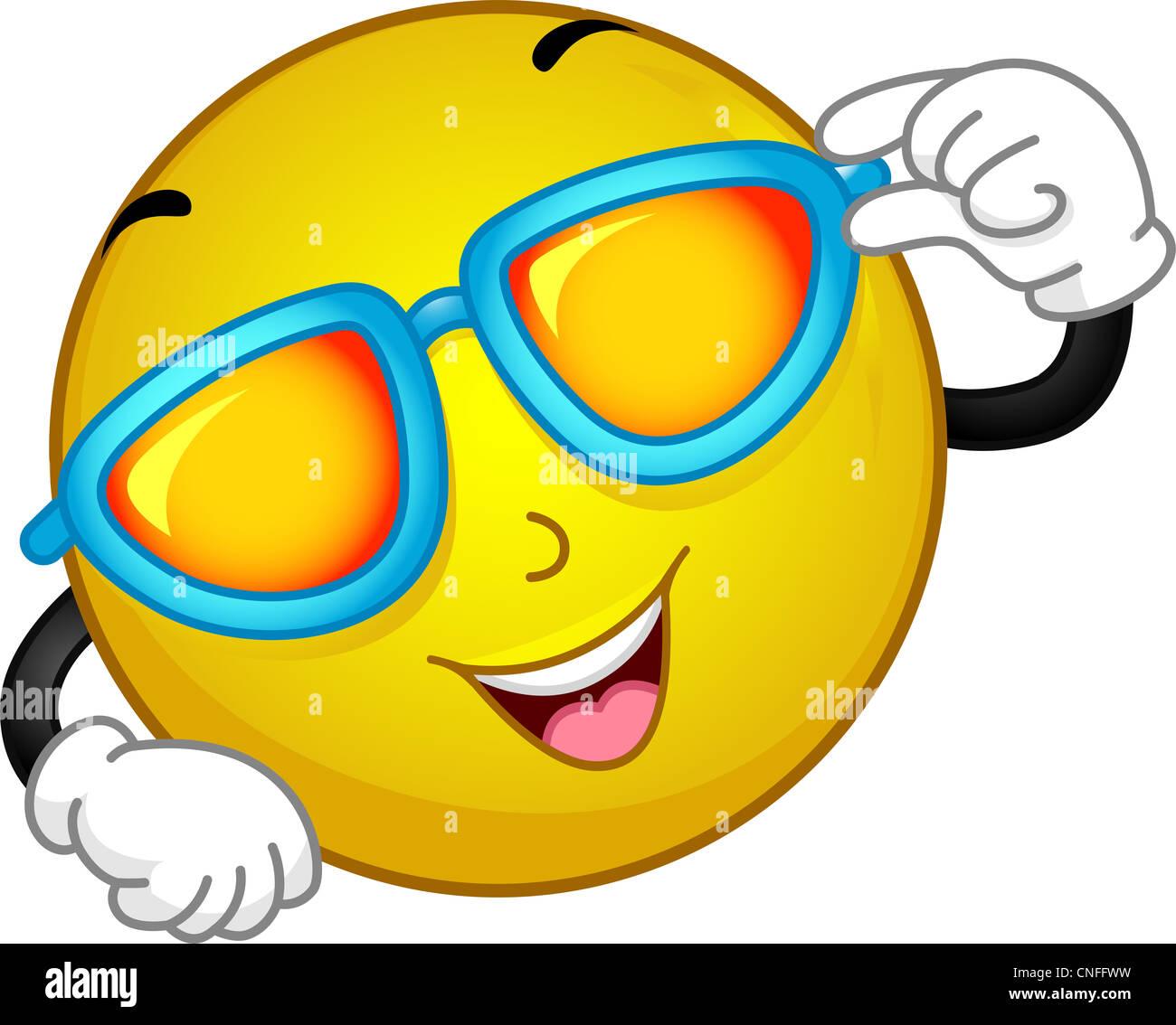 Illustration Smiley Wearing Sunglasses Imágenes De Stock ... 7a7b67a65c3