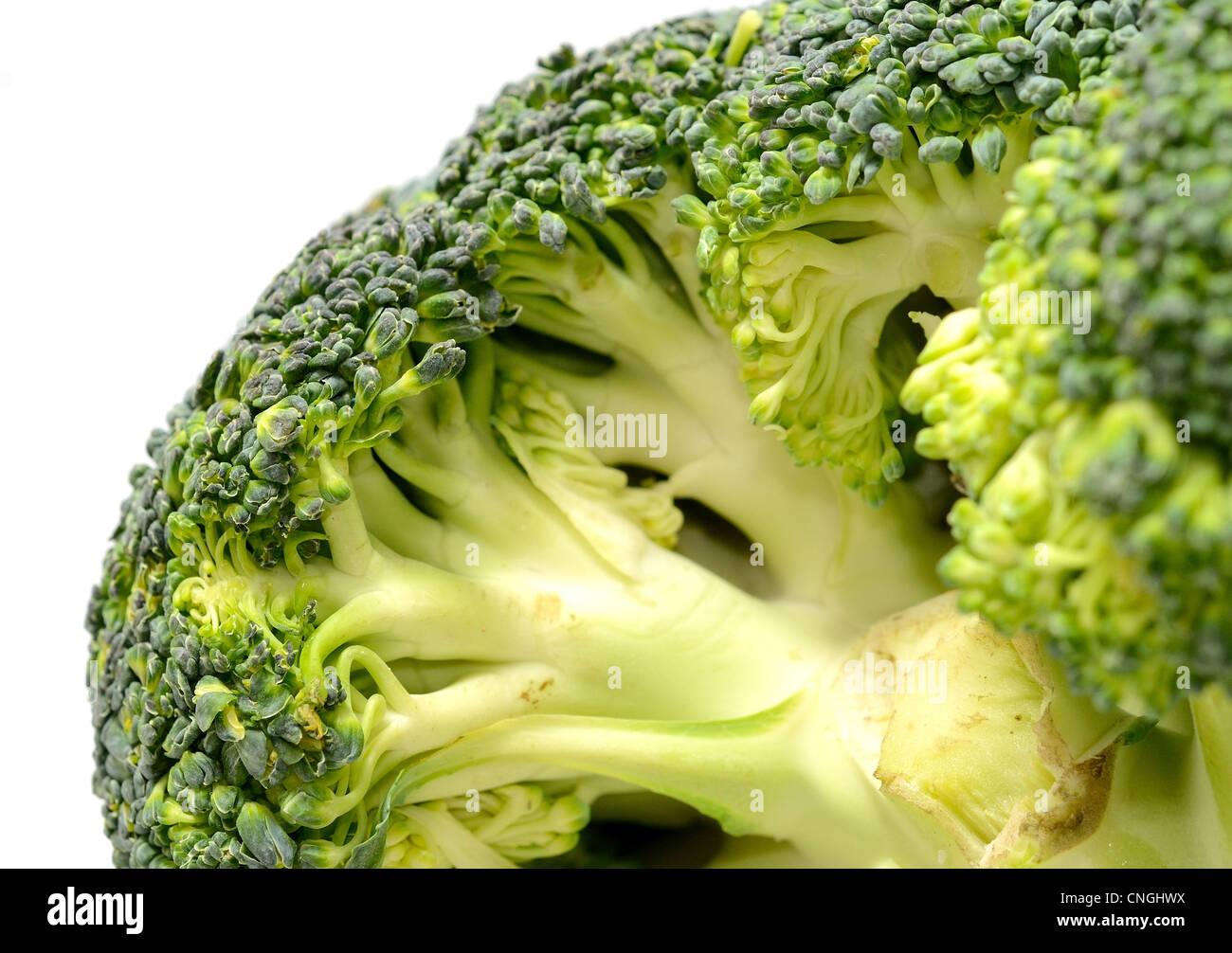 Grabar macro de cabeza de brócoli. Foto de stock